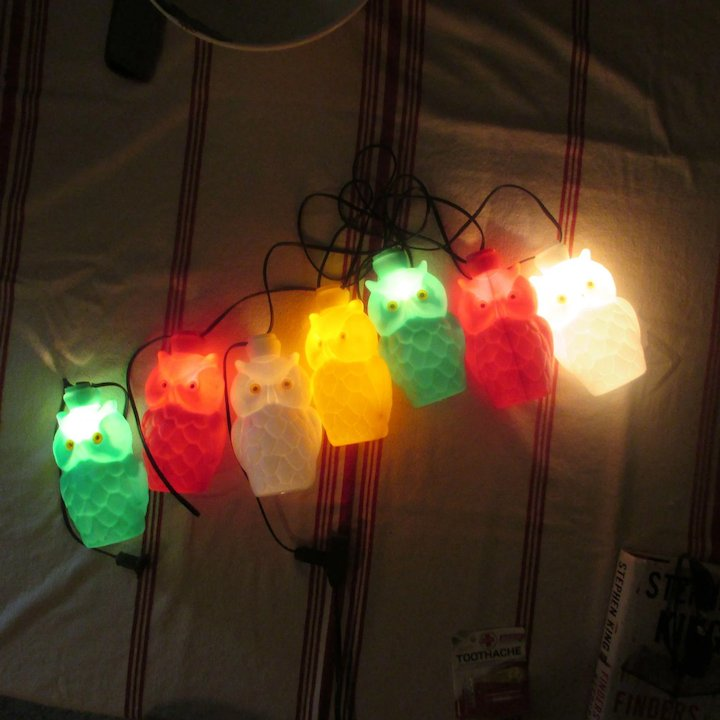 Retro String Lights  OWL Patio Lanterns  Pool Lights  Vintage 7 Porch  Lights  Blow Mold Porch Lights  Camper or Camp Site Lights  RV Lights