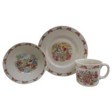 3 Pc. Place Setting. Vintage Bunnykins China.  Cereal Bowl. Mug. Plate. Royal Doulton.  English Fine Bone China.