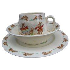Bunnykins Cereal Bowl, Mug and Plate by Royal Doulton.  3 Pc. Place Setting. Vintage Bunnykins.  English Fine Bone China.