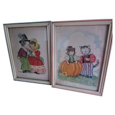Peter Peter Pumpkin Eater & Georgie Porgie Nursery Rhymes Lithographs Signed K. Townsend