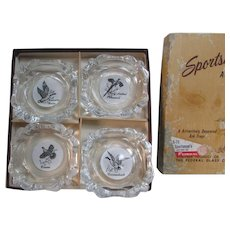 Vintage Set of 4 Sportsman's Ash Trays by the Federal Glass Company, Columbus, OH.  In Original Box.  Hunters. Game Birds