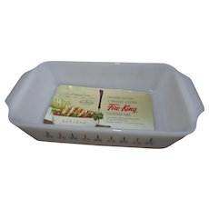 Vintage Anchor Hocking Candle Glow Fire King Ovenware. 5x9 Baking Dish. New Old Stock with Original Label