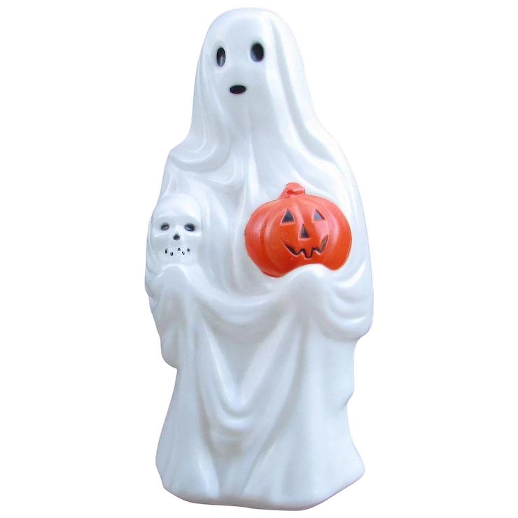 vintage blow mold ghost halloween decoration lighted ghost empire plastics made in