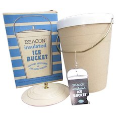 Vintage Beacon Insulated Ice Bucket In Original Box with Tags. New Old Stock.  Never Used.