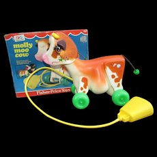 1972 Fisher Price Molly Moo Cow In Original Box.  #132