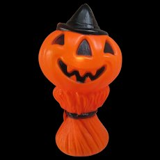VINTAGE Halloween Jack-O-Lantern Corn Stalk Man. 1969 Empire Plastic Corp. Blow Mold. Pumpkin. Lighted with Electrical Cord.