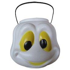 VINTAGE Halloween Ghost Blow Mold Bucket Trick or Treat Pail. Nice Condition. Halloween Night. General Foam Plastics Candy Treats