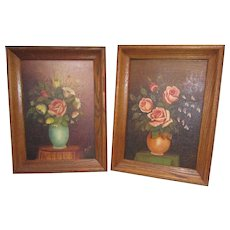 Lovely Pair of Floral Oil Paintings on Board Signed Zurita. Mid Century or Earlier
