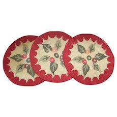 Set of 3 Hooked Cotton Rug Chair Pads. Made in Japan.  Folky Floral Pattern