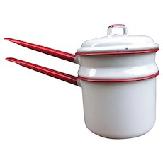 White and Red Enamelware Pots with Lid. Double Boiler. White Enamel with Red Handles and Rims