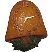 Ceramic Mushroom Electric Wall Clock, 1973 VINTAGE Kitchen Clock with Original Tag