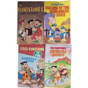 Set of 4 Vintage Flintstones Softcover Books. Hanna Barbera