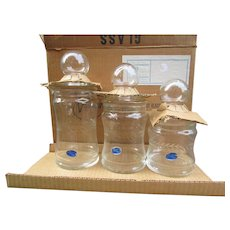 3 Piece Vintage Glass Canterbury Canister Set from Valcraft, Morgantown, WV. Graduated Set