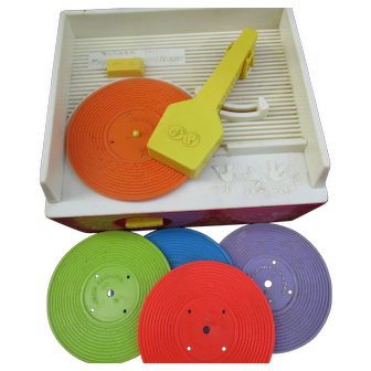 1971 Fisher Price Record Player with 5 Original Records.  Works Great!