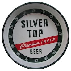 "VINTAGE Beer Tray. Silver Top Premium Lager. Duquesne Brewing Company. 13"" Metal Beer Tray. Gently Used Condition"