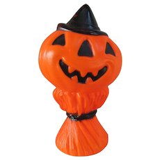 1969 Vintage Empire Halloween Jack-O-Lantern Man with Black Hat. Blow Mold. Pumpkin. Lighted with Electrical Cord.