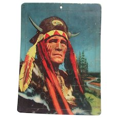 Saalfield Tray Puzzle No. 7012 American Indian Chief with Horned Headdress