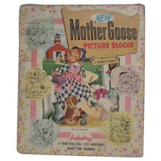 Mother Goose Picture Blocks 1951 Gaston Mfg. Co. Six Picture Puzzle Blocks with Matching Lithographs