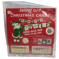 Show Off Your Christmas Cards with Tiny Clothespins and Twine. Enough for 50 Cards. New Old Stock. NOS. Still Sealed VINTAGE