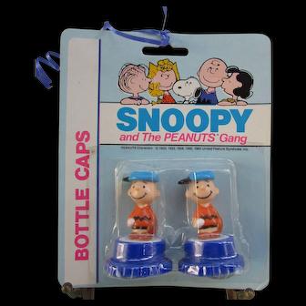 Set of 2 Vintage Charlie Brown Bottle Caps. 1965. In Original Package. NOS. New Old Stock.