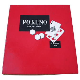 Vintage Po-Ke-No Pokeno Poker - Keno 12 Board Set.  U.S. Playing Card Co., Cincinnati, OH  USA