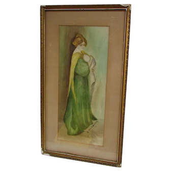 """Vintage Watercolor Painting Titled """"Young Mother"""" Framed Artwork with Glass"""