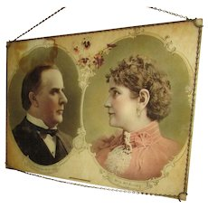 Wonderful Portrait of President William McKinley & Mrs. McKinley. Wall Hanging. Unique Chain Frame Hanger