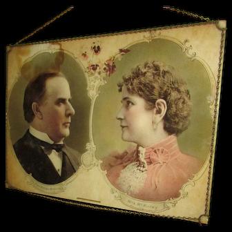 Wonderful Portrait of President William McKinley & Mrs. McKinley. Wall Hanging. Unique Chain Frame Hanger