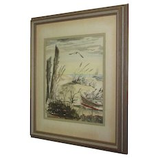 Wood Framed Doretta Frenna Smith Watercolor, Beached Boat, Sailboat in Distance Seagulls