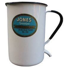 VINTAGE Jones Hospital Surgical Ware Irrigator. No. 210. West Lafayette, OH, USA. White Enamelware
