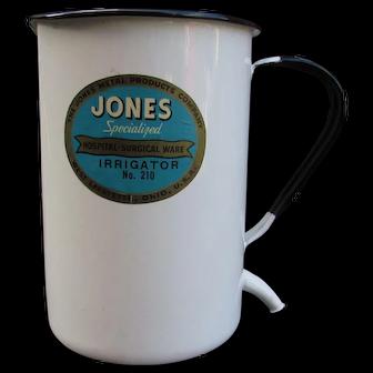 VINTAGE Jones Hospital Surgical Ware Irrigator. No. 210. West Lafayette, OH, USA. White Enamelware