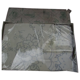 Vintage Set of Embroidered Pillowcases in Box from Rosenbaum's.  Never Used New Old Stock.