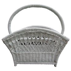 Vintage White Wicker Magazine Storage Basket.