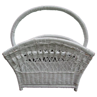 Vintage White Wicker Magazine Storage Basket.