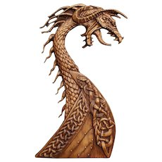 """Hand made wood carved picture """"Drakar""""."""