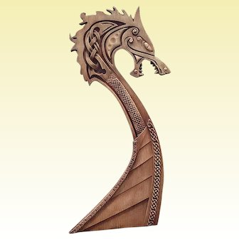 "Hand made wood carved picture ""Drakkar""."
