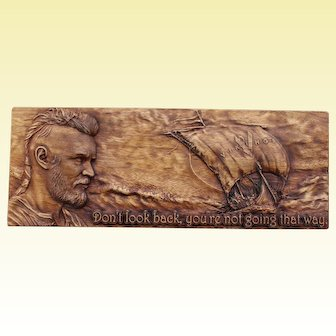 """Hand made wood carwed picture """"Ragnar Viking""""."""