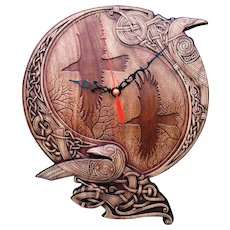 "Hand made wood carved wall clock ""Ravens of Odin ""."