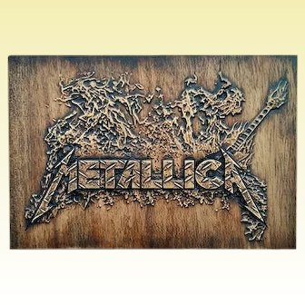 Metallica Wall Decor Music Fan Wood Art Carved Picture Plaques Custom Craft Birthday Personalized Gift Housewarming Home Decor Wall Hanging