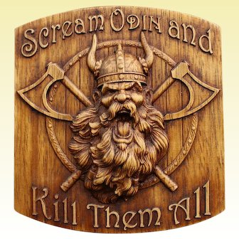 Odin Viking Wood Picture Pagan Gods Mythology Icon Home Decor Art Norse  Thor Carving Heathen Asatru