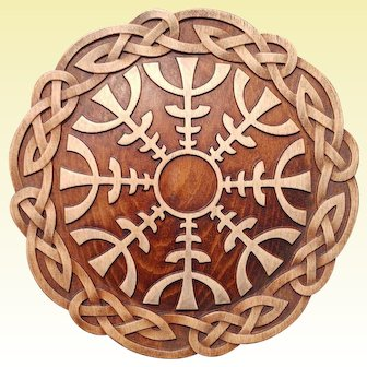 """Hand made wood carved picture """"HELM OF AWE """"."""