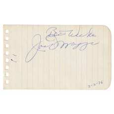 "Joe DiMaggio Signature Cut Autographed ""Best Wishes"" - FULL JSA LOA"