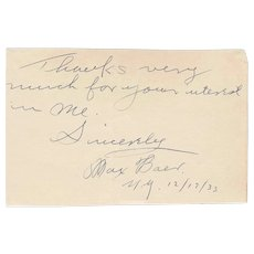 Heavyweight Champion Max Baer Handwritten Signed Note Dated 1933 (JSA Authenticity)