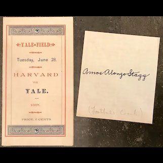 Amos Alonzo Stagg 1887 Yale vs Harvard Scorecard & Signature FULL JSA