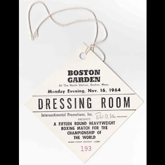 1964 Cassius Clay VS Sonny Liston II Dressing Room Pass - ORIGINAL REMATCH FIGHT