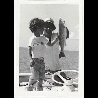 Ted Williams Original Snapshot Photographs (4) Playing Favorite Sport - FISHING