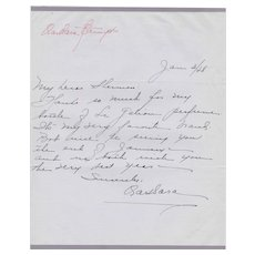 Barbara Stanwyck Handwritten Letter on Personal Stationery Stork Club - 1948