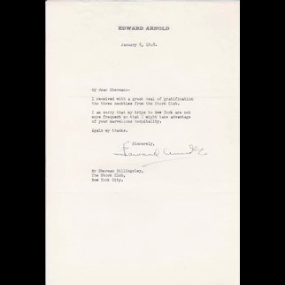 Edward Arnold (Actor d.1956) Signed Letter to Stork Club Owner - 1948
