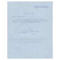 Actor Adolphe Menjou Signed Letter to Owner iof NYC's Famous Stork Club