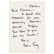 Nelson Eddy Handwritten Christmas Letter
